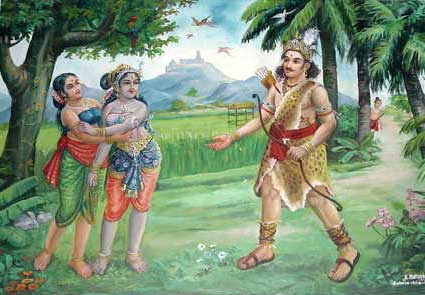 Murugan assumed the form of a hunter and, as soon as he arrived at Valli's field, he addressed the lovely girl